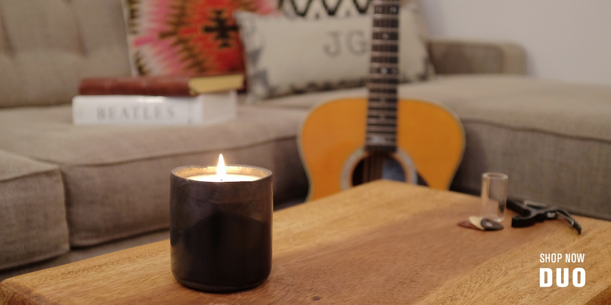 DUO CANDLE COLLECTION, BLACK CERAMIC, BY JG AND CO