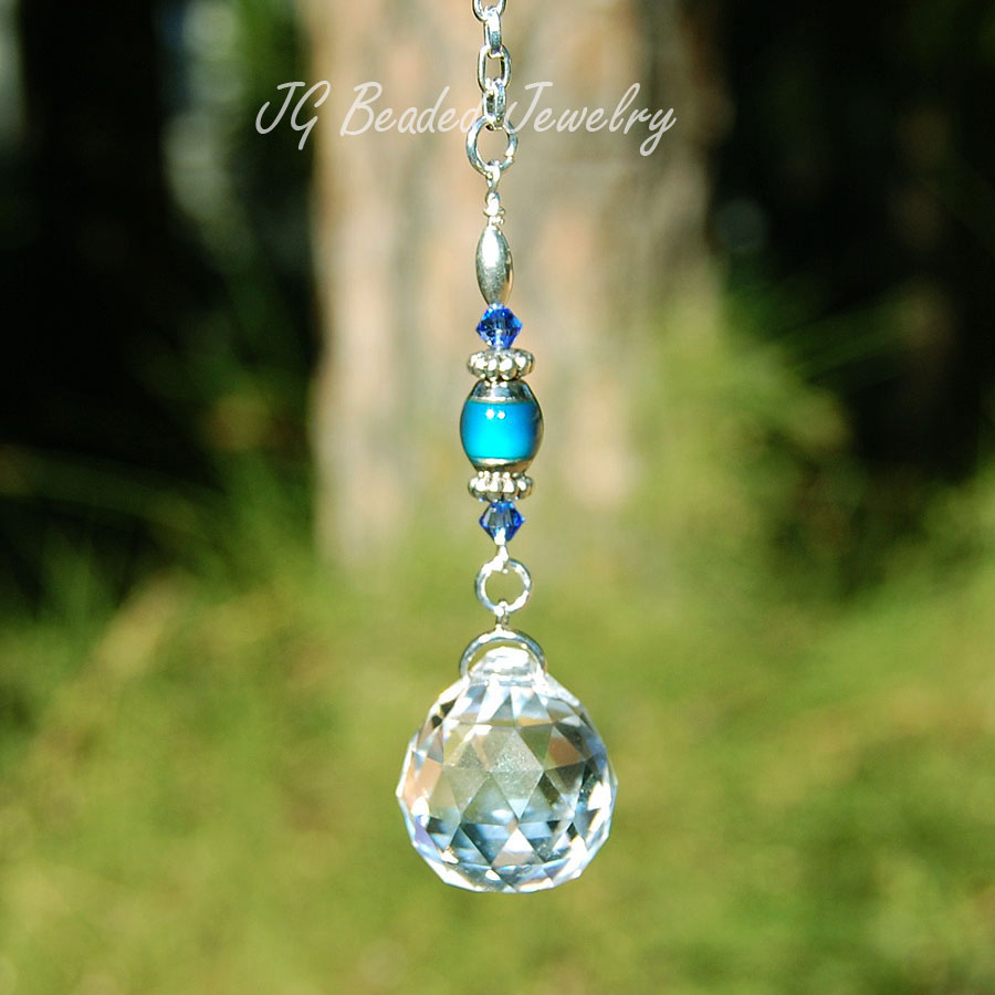 Hanging Crystal Decoration With Color Changing Mood Bead