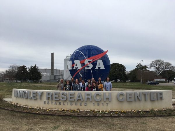 Final picture of the NASA social team, in front of the meatball at the entrance of the Langley Research Center