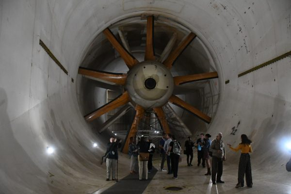 The propeller propulsing air at subsonic speed in the tunnel