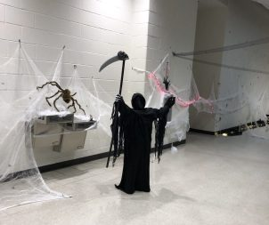 The student council decorated the school with Halloween decorations which included a spider-themed hallway for the kids to walk through. (Photo courtesy King Philip Regional School District)