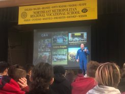 NASA Astronaut Scott Tingle answered student questions after giving a presentation about his career on Tuesday, Nov. 26. (Courtesy Photo Northeast Metro Tech)