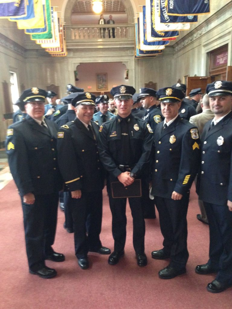 Pictured left-to-right are Sergeant Paul Saunders, Lieutenant James Graham, Officer Timothy Barry, Sergeant Pat Towle, and Officer Robert Abajian. (Courtesy of Bedford Police)