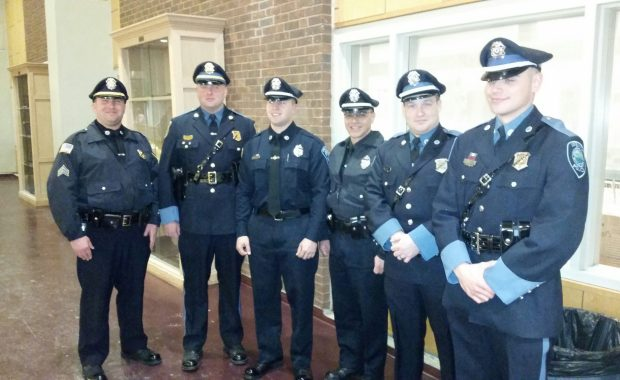 Pictured Left-to-right: Sergeant Dan Kmiec, Lieutenant Jon Hubbard, New Officer Matthew Mayer, Special Officer Al DiGregorio, Officer. David Moore, and Officer. Charles Ciccotelli. (Courtesy of the Ipswich Police Department)