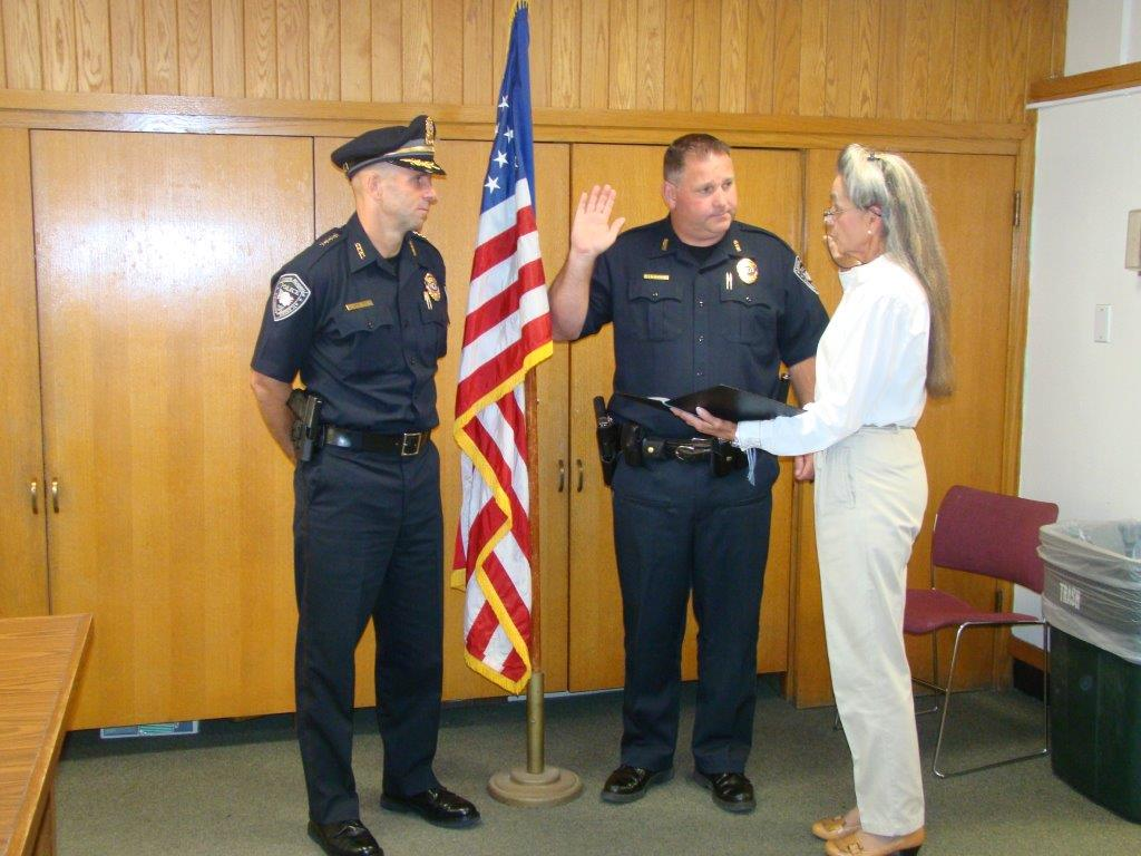 Left to right: Chief Murphy, Sergeant Michael McAuliffe and Town Clerk Barbara Stats. (Courtesy Photo)