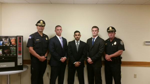 Left-to-right: Chief Michael Kent, Timothy Alben, Rameez Gandevia, Brian Hanafin, and Deputy Chief Thomas Duffy. (Courtesy Photo)