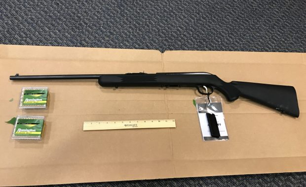 A bolt action rifle and ammunition recovered Monday evening. (Saugus Police Department Courtesy Photo)