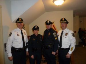 Pictured left-to-right are newly promoted Lieutenant Scott Hatch, Officer Joanne Ballard, and Sergeant James Rodden with Chief Donald C. Cudmore. (Courtesy photo)