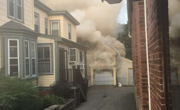 Crews were met with smoke and fire showing upon arrival to the barn on Sunday. (Courtesy Photo)