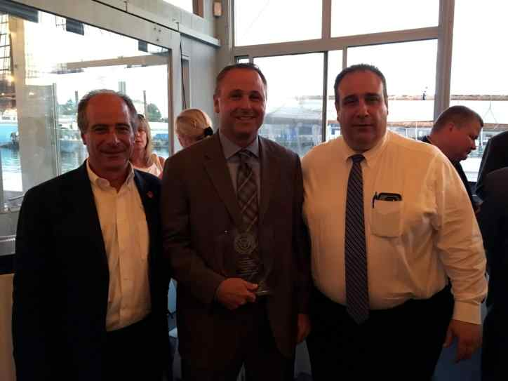 Left to right: P.A.A.R.I. Co-founder John Rosenthal, Dixon Police Chief Danny Langloss and Gloucester Police Chief Leonard Campanello. (Courtesy Photo)