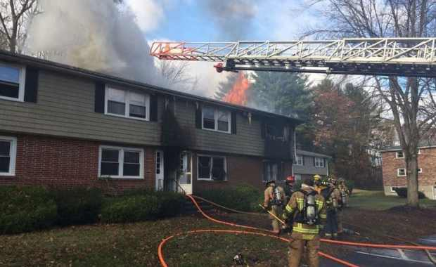 The 3-alarm fire destroyed a four-unit apartment building (Courtesy Photo/East Kingston, New Hampshire Fire Department)