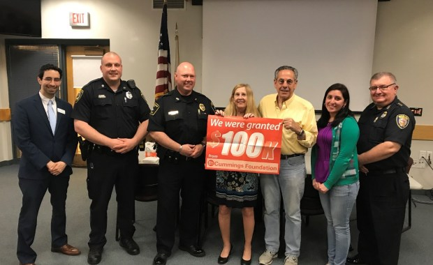 MPY Board member Mario Portillo (The Savings Bank Wakefield), Wakefield Police Officer Michael Pietrantonio (School Resource Officer), Stoneham Police Chief James T. McIntyre, MPY Executive Director Margie Daniels, MPY President Tony Pierantozzi, MPY Prevention and Education Coordinator Camila Barrera, and Woburn Police Chief Robert Ferullo. Not pictured is Chairman of the Board and Wakefield Police Chief Rick Smith. (Courtesy Photo)