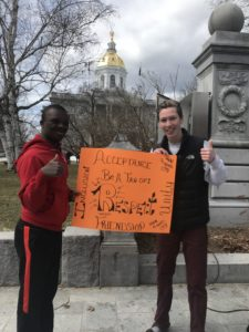 Oyster River High School 10th grader Tinuifeoluwa Afolayan and ORHS Best Buddies Chapter President Joe Morrell at the Best Buddies Spread the Word to End the Word Rally in Concord (Courtesy Photo Joe Morrell)