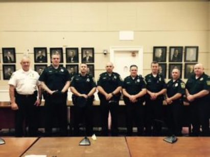 Melrose officials swore in five officers to the Melrose Police Depatment on Thursday morning. Left-to-right: Police Chief Michael Lyle, Officer Brian Trainor, Officer Travis Nally, Officer Marco DePalma, Officer John Goodhue, Officer Nick MacIntosh, Lt. Tim Maher and Lt. Mark DeCroteau. (Courtesy Photo)
