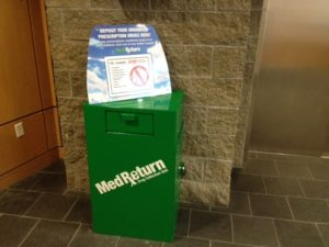 Citizens may place any unused, unneeded, expired, and/or unwanted prescriptions or over-the-counter medications into the disposal unit, no questions asked. Simply open the mailbox-style. (Courtesy of the Andover Police Department)