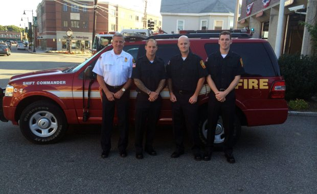 Left-to-right: Acting Fire Chief William F. Spillane and recruits Matthew Munchbach, Keith Hibbard and Brian Hutchinson. (Dedham Fire Department Photo)