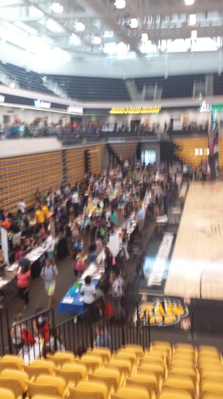 "This blurred image represents the blur of events that the arena saw. ""Tuesday evening, the Tiger volleyball team christened the facility, competing in the first TU athletics contest in the arena, defeating Coppin State. Wednesday morning, President Maravene Loeschke and SECU president and CEO Rod Staatz cut the ribbon on the arena,"" according to an article on the University website."