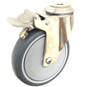 377 Series - Poly Urethane (PU) Stainless Steel Bole Hole Castors