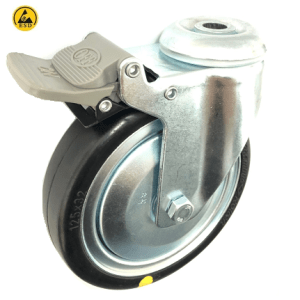 377 Series - Black Rubber Conductive (ESD) Bole Hole Castors