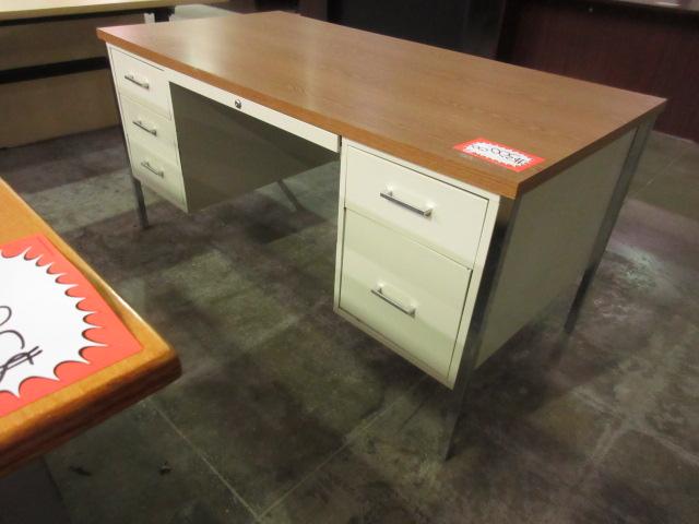 Metal Desk with Oak Top Double Pedestals