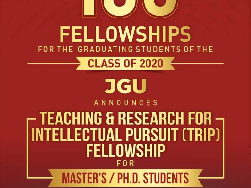 Landmark and Transformative Initiative in  Indian Higher Education:  JGU Announces 100 New Fellowships  for the Master's and Ph.D. Graduates of 2020