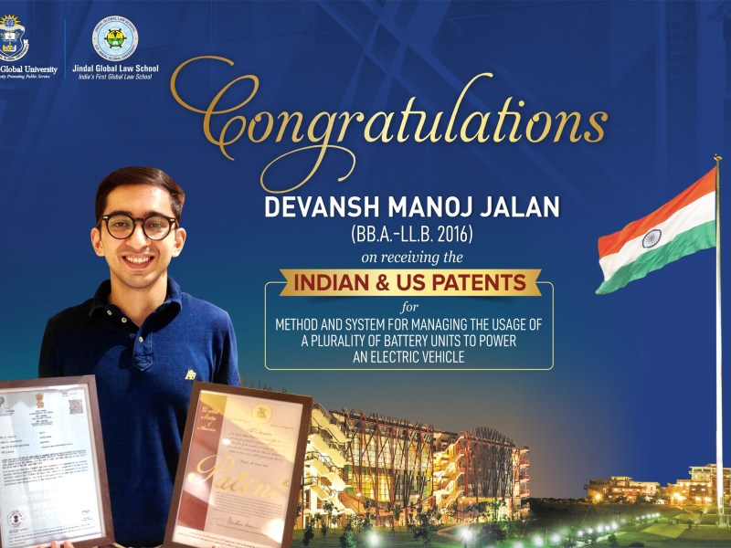 Indian & US Patents for Electric Vehicle Technology Awarded to Devansh Manoj Jalan, Student of JGLS