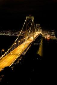 Bay bridge at night San Francisco California