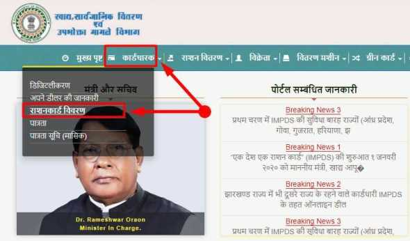 Jharkhand Ration Card List Check on Aahar Jharkhand Portal