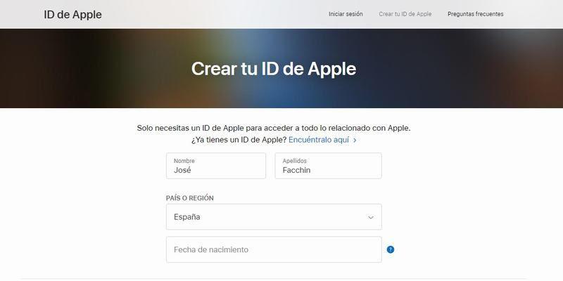 Accede al formulario de creación de cuenta Apple