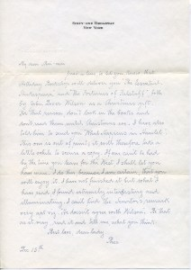 Theodore Bernstein to Mai-mai Sze, 15 Dec. 1944?  Sharaff/Sze Collection File, Institutional Archives, New York Society Library (click for larger view)