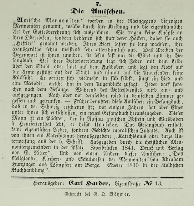 "Carl Harder's brief remarks on ""The Amish."" (Monatsschrift für die evangelischen Mennoniten, October 1847, p. 16.)"