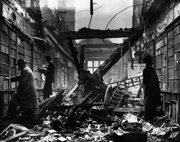 ca. 1940, London, England, UK --- Holland House Library is left roofless following an air raid, ca. 1940, London. --- Image by © Hulton-Deutsch Collection/CORBIS