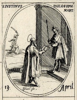 Justin Martyr presenting an open book to a Roman emperor (Jacques Callot, c. 1632-1635)