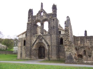 The ruins of the twelfth-century Kirkstall Abbey, en route from Leeds airport to the city center. (Wikimedia Commons)