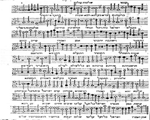 The first piece from Rossi's liturgical cycle: the kadish prayer arranged for three voices.