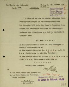 Document dismissing Löwith from Marburg. By permission of Universitätsarchiv Marburg