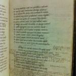 EL 34 B 6 f. 9r showing John Gunthorpe's dense annotations on the start of Persius' Satire 5.
