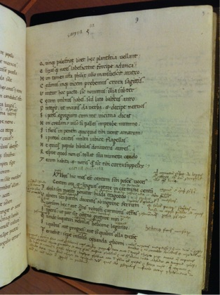 EL 34 B 6 f. 9r showing John Gunthorpe's dense annotations on the start of Persius' Satire 5.