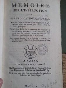 Léonard Bourdon de la Crosnière's pamphlet on public instruction. Bibliothèque Historique de la Ville de Paris.