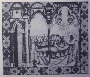 Scene of mourning at an honorable death, with women rending their cheeks, late 13th century Castile. From Cantiga 152, Cantigas de Santa Maria. Image reproduced in Heath Dillard, Daughters of the Reconquest: Women in Castilian Town Society, 1100-1300 (Cambridge: Cambridge University Press, 1984), plate 20.