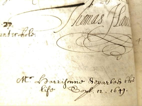 Thomas Harrison signature and death