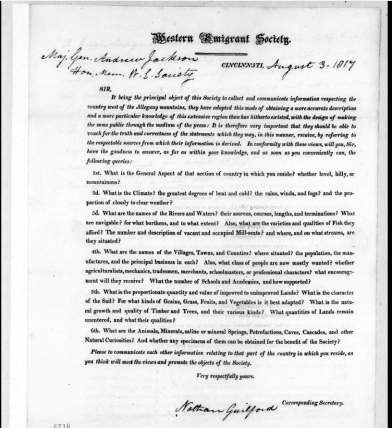 Western Emigrant Society circular to Andrew Jackson