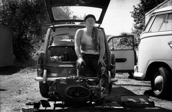 Gottschalk Marlene Resting with a beer, Oregon, 1974