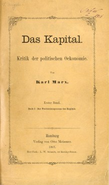cover of marx's das kapital