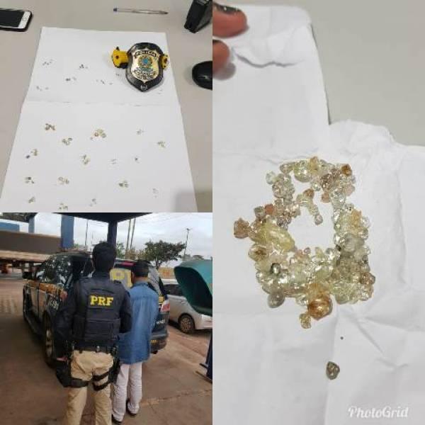 Homem com mandado de prisão por estupro é preso no Mato Grosso com 115 diamantes comprados em Rondônia