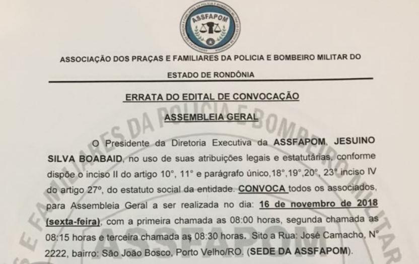 PRESTAÇÃO DE CONTAS- ERRATA NO EDITAL DE CONVOCAÇÃO DA ASSFAPOM