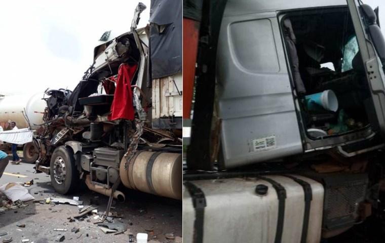 Motorista morre após colisão entre carretas na BR-364