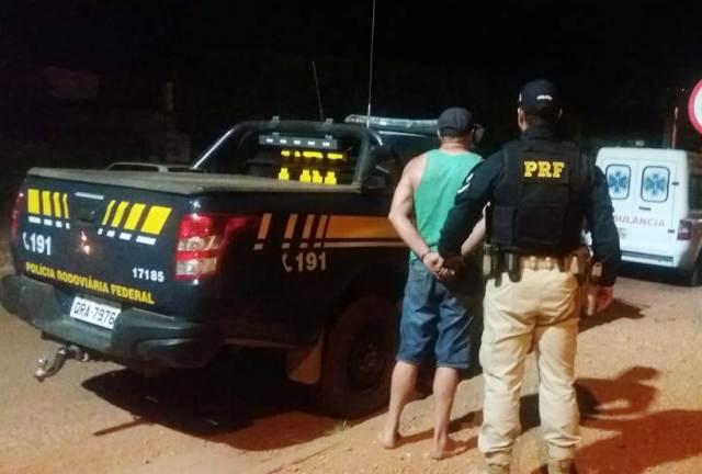 PRF prende motorista envolvido em acidente com caminhão que pegou fogo