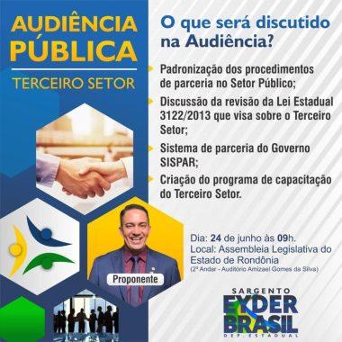 CONVITE – Deputado Eyder Brasil propõe audiência pública do Terceiro Setor