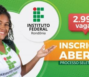 Processo Seletivo 2020/1 do IFRO oferta mais de 2.900 vagas